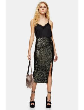 Khaki Sequin Split Midi Skirt by Topshop