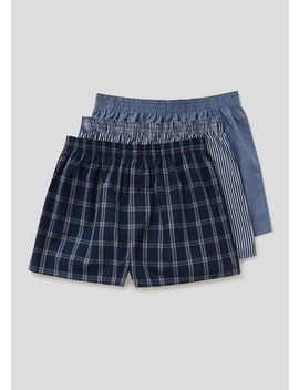 3 Pack Check Woven Boxers by Matalan