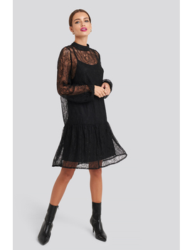 Lace High Neck Balloon Sleeve Mini Dress Black by Na Kd Party