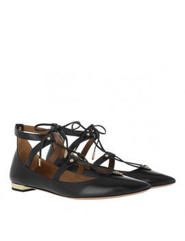 Bel Air Flat Ballerina Leather Black by Aquazzura