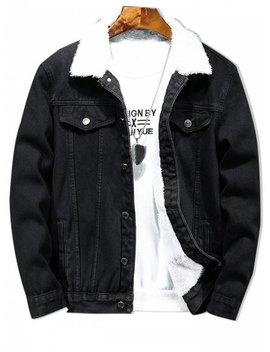 Solid Color Button Denim Fluffy Jacket   Black L by Zaful