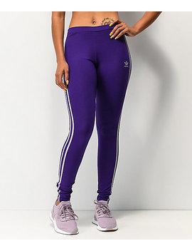 Adidas 3 Stripe Collegiate Purple Leggings by Adidas