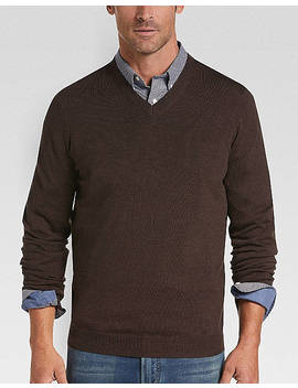 Joseph Abboud Chestnut V Neck Merino Wool Sweater by Joseph Abboud