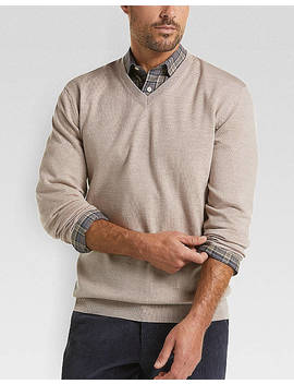 Joseph Abboud Oatmeal V Neck Merino Wool Sweater by Joseph Abboud