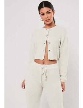 Cream Co Ord Soft Touch Cropped Cardigan by Missguided