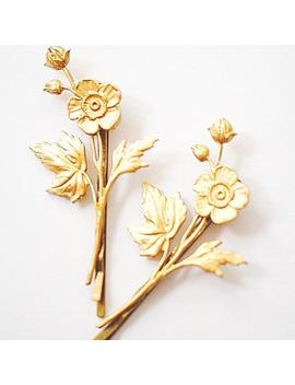Bobby Pins, Hair Pins, Flower Hair Pins, Gold Hair Pins, Hairpins, Bridal Hair Pins, Hair Accessories, Decorative Bobby Pins, Gift For Bff by Etsy