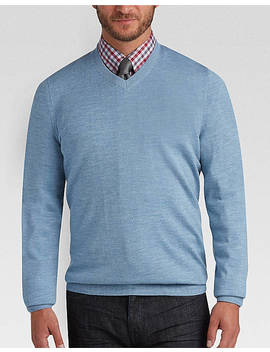 Joseph Abboud Light Blue V Neck Merino Wool Sweater by Joseph Abboud
