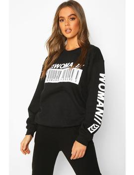 Woman Barcode Oversized Sweatshirt by Boohoo