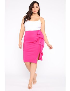 Busy For You Ruffle Skirt   Fuchsia by Fashion Nova