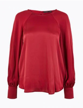 Satin Relaxed Fit Shell Top by Marks & Spencer