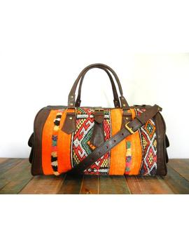 Vintage Kilim Duffle   Leather Duffle, Kilim Bag, Men Duffle, Women Duffle, Weekender, Carryon, Overnight Bag, Berber Rug by Etsy