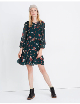 Sheer Sleeve Pintuck Ruffle Dress In Spruce Blooms by Madewell