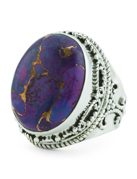 Made In India Sterling Silver Purple Copper Turquoise Ring by Tj Maxx