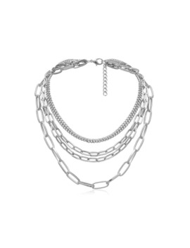Brief Link Chain Multilayered Necklace   Silver by Zaful
