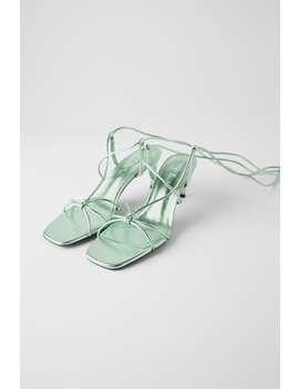 SkÓrzane Buty Na Średnim Obcasie Z Metalizowanym WykoŃczeniem Z Kolekcji Blue by Zara