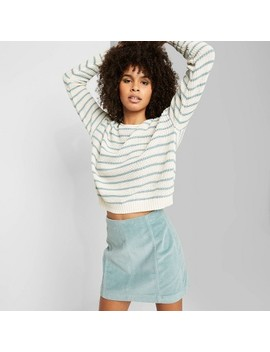 Women's Striped Long Sleeve Crewneck Sweater   Wild Fable™ Ivory/Teal Blush by Wild Fable