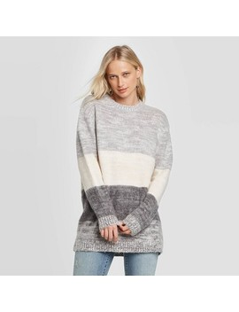 Women's Striped Long Sleeve Crewneck Brushed Tunic Sweater   Universal Thread™ Charcoal by Universal Thread