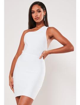 Premium White One Shoulder Bandage Mini Dress by Missguided