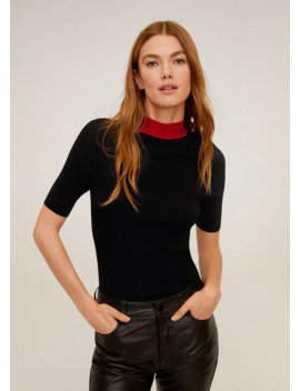Contrasting Neck Knit T Shirt by Mango