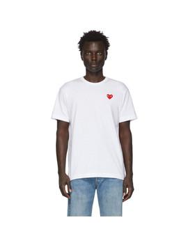 White Patch Heart T Shirt by Comme Des GarÇons Play