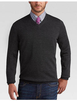Joseph Abboud Charcoal V Neck Merino Wool Sweater by Joseph Abboud