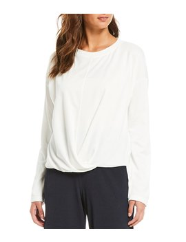 Knit Jersey Crossover Front Hi Low Hem Long Sleeve Top by B New York