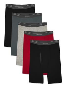 Fruit Of The Loom Men's Cool Zone Fly Dual Defense Assorted Long Leg Leg Boxer Briefs, 5 Pack by Fruit Of The Loom