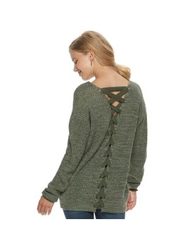 Juniors' So® Lace Back Sweater by Juniors' So
