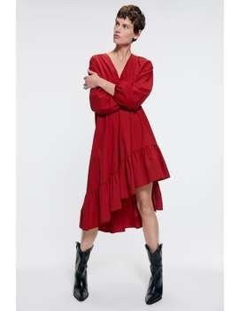 Popelinowa Sukienka Średniej DŁugoŚci by Zara
