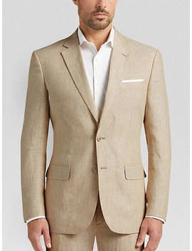 Joe Joseph Abboud Tan Chambray Linen Slim Fit Suit by Mens Wearhouse