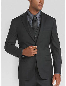 Joe Joseph Abboud Charcoal Plaid Slim Fit Vested Suit by Joe Joseph Abboud