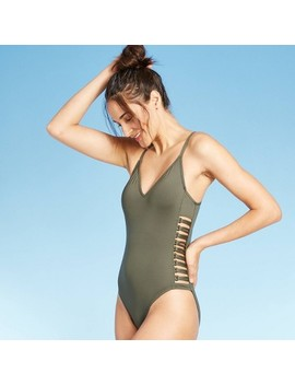 Women's Strappy Side One Piece Swimsuit   Shade & Shore™ Palm Green by Shade & Shore