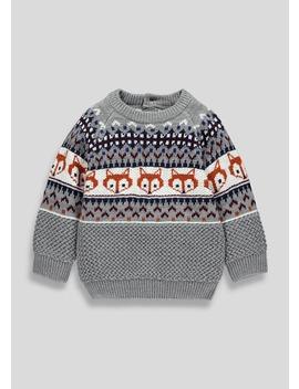 Kids Fair Isle Fox Knitted Jumper (9mths 6yrs) by Matalan
