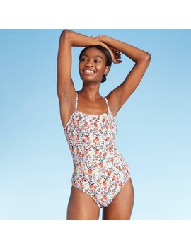 Women's Smocked Medium Coverage One Piece Swimsuit   Kona Sol™ Floral by Kona Sol