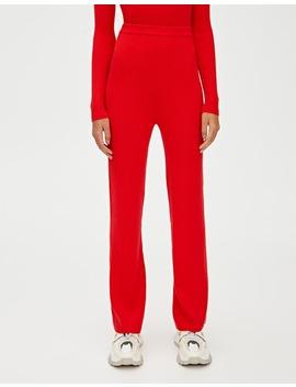 Kırmızı Fitilli Geniş Paça Pantolon by Pull & Bear