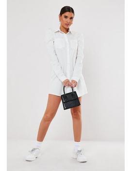 Black Puff Sleeve Mini Shirt Dress by Missguided