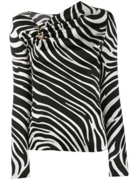 Zebra Print Asymmetric Blouse by Versace