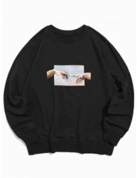 Popular Sale Helping Hands Pattern Casual Sweatshirt   Black M by Zaful