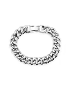 Hot 15mm Brief Wide Chain Bracelet   Silver by Zaful