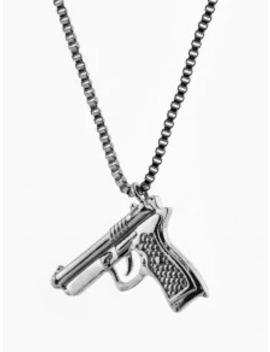Hot Sale Hip Hop Gun Shape Pendant Necklace   Gunmetal by Zaful