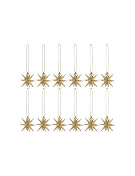 Set Of 12 Gold Glitter Mini Star Christmas Tree Decorations 3cm Set Of 12 Gold Glitter Mini Star Christmas Tree Decorations 3cm by Ting                         Ting