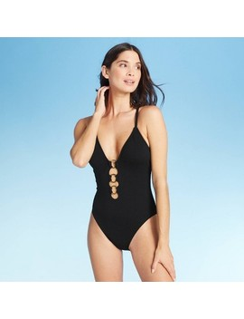 Women's Textured Ring Front One Piece Swimsuit   Shade & Shore™ Black by Shade & Shore