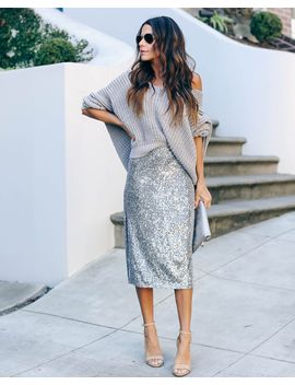 Knight In Shining Armor Sequin Midi Skirt by Vici