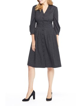 Eliza Button Front V Neck Dress (Regular & Plus Size) by Gal Meets Glam