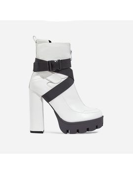 Efron Buckle Detail Platform Ankle Boot In White Faux Leather by Ego
