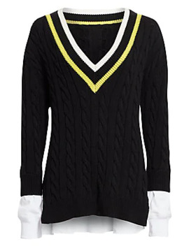 Layered Varsity Cable Knit Sweater by Alexanderwang.T