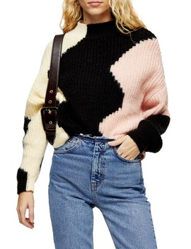 Wave Pattern Mock Neck Sweater by Topshop
