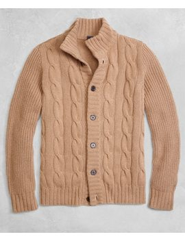 Golden Fleece® 3 D Knit Camel Hair Cardigan by Brooks Brothers