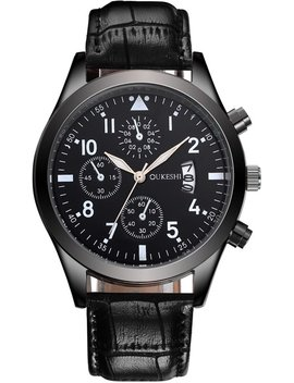 Oukeshi Heren Horloge   Kunstleer   Zwart by Kjg