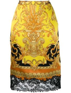 Baroque Print Skirt by Versace